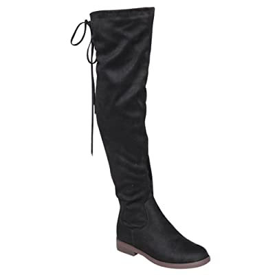 Chase & Chloe Maggy-1 Women's Thigh High Drawstring Low Chunky Heel Boots | Boots
