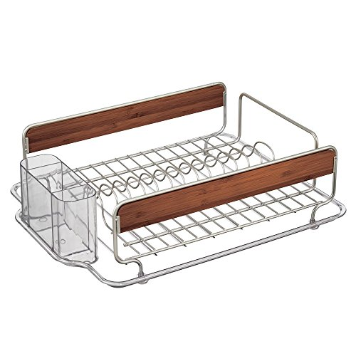 (InterDesign Formbu Kitchen Dish Drainer Rack for Drying Glasses, Silverware, Bowls, Plates - Satin/Cherry Finish Bamboo)