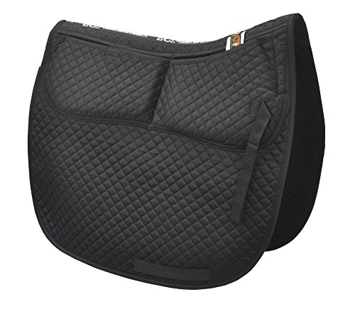 ECP Cotton Correction Dressage Pad - Memory Foam Pockets (Black) Black Dressage Saddle Pads