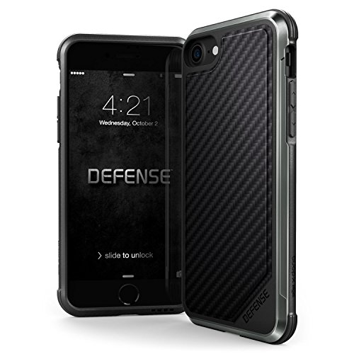 iPhone 8 & iPhone 7 Case, X-Doria Defense Lux Series - Military Grade Drop Tested, Anodized Aluminum, TPU, and Polycarbonate Case for Apple iPhone 8 & 7, [Black Carbon - Case Anodized