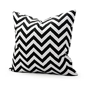 Lavievert Decorative Cotton Canvas Square Throw Pillow Cover Cushion Case Handmade White and Black Chevron Stripe Toss Pillowcase with Hidden Zipper Closure 18 X 18 Inches (For Living Room, Sofa, Etc)