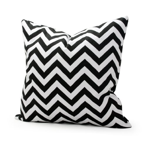 Lavievert Decorative Cotton Canvas Square Throw Pillow Cover Cushion Case Handmade White and Black Chevron Stripe Toss Pillowcase with Hidden Zipper C…