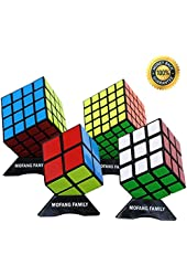 MOFANG FAMILY Black Cube Puzzle Bundle Pack 2x2x2 3x3x3 4x4x4 5x5x5 Set Shengshou Speed Cube Collection Brainteaser Puzzle
