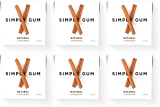 product image for Simply Gum | Natural Chewing Gum | Cinnamon | Pack of Six (90 Pieces Total) | Plastic Free + Aspartame Free + non GMO