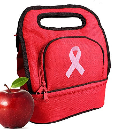 Pink Ribbon Lunch Bags Two Section Insulated Pink Ribbon Lunch Bag ()
