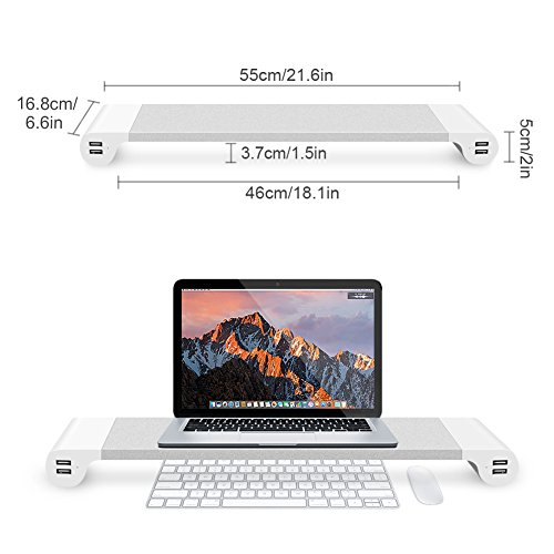 Xintore Monitor Stand Riser With 4 USB 3.0 Ports For Charger, Aluminum Alloy Storage Organizer Space-Save Desk Container, Healthier Use Of Computer, Laptop, Desk, Cellphone, Printer with 2 inch Height by Xintore (Image #4)