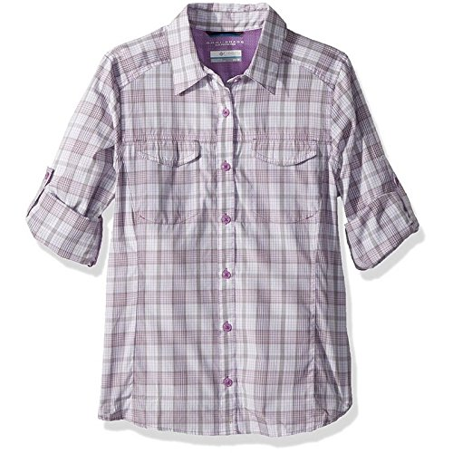 Plaid Jewel (Columbia Women's Silver Ridge Lite Plaid Long Sleeve Shirt, Crown Jewel Plaid, Small)