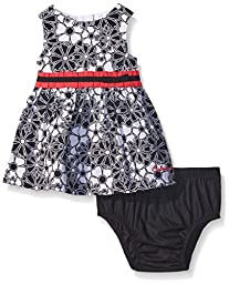 Calvin Klein Baby Girls\' Flower Print Poplin Dress and Panty, Black/White, 3-6 Months