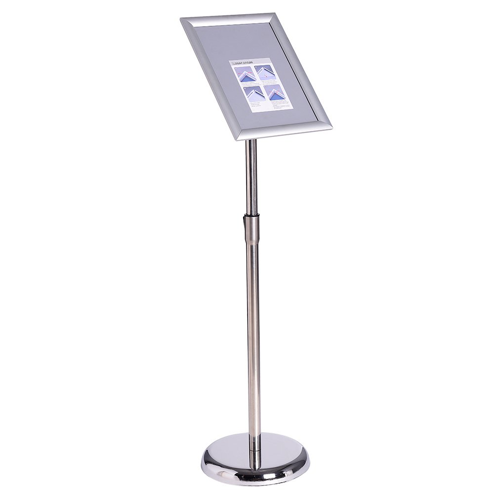 Aluminum Poster Stand 1'' Profile Mitred Corner Stand Sign Stand Pedestal Sign Holder Snap Open Frame (Silver 11x17inches)