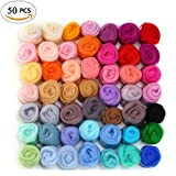 50 Colors Felting Wool Fibre Wool Yarn Roving for Needle Felting Hand Spinning DIY Craft Materials by MOMODA