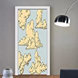 Gzhihine custom made 3d door stickers Vintage Decor Fluffy Formed Old Fashioned Clouds In The Air Funky Colored Sky Elements Illustration Decor Blue Beige For Room Decor 30x79