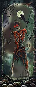 Halloween Decoration Spooky Skeleton Door Panel Lights & Sounds Battery Operate