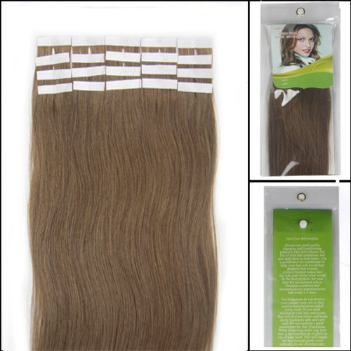 Cheap 18 Inch Color Long Color 12 Light Brown Tape in Premium Remy Human Hair Extensions_20 Pcs Set 40g Weight Straight Women Beauty Salon Style Design