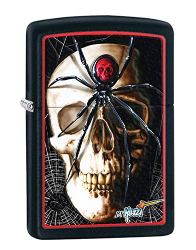 Zippo Mazzi Skull and Spider Pocket Lighter, Black Matte ()