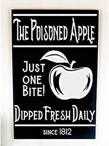 43LenaJon The Poisoned Apple Farmhouse Halloween Wood Sign, Neutral Fall Decorations, Large Wooden Signs for Fall, Front Porch Ideas, Framed Plaqu