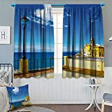 Anhounine Italian,Blackout Curtain,Camogli Building Sea Lamp and Balcony Tourist Spot in Ligury Italy Print,Window Curtain Fabric,Blue White and Yellow,W120 x L108 inch