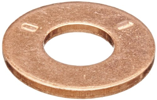 Copper Flat Washer, Plain Finish, 1/4'' Screw Size, 0.26'' ID, 5/8'' OD, 0.065'' Thick (Pack of 50) by Small Parts