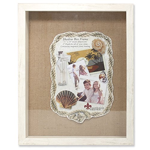 Lawrence Frames Front Hinged Shadow Box Frame with Burlap Display Board, 11 by 14-Inch, Ivory