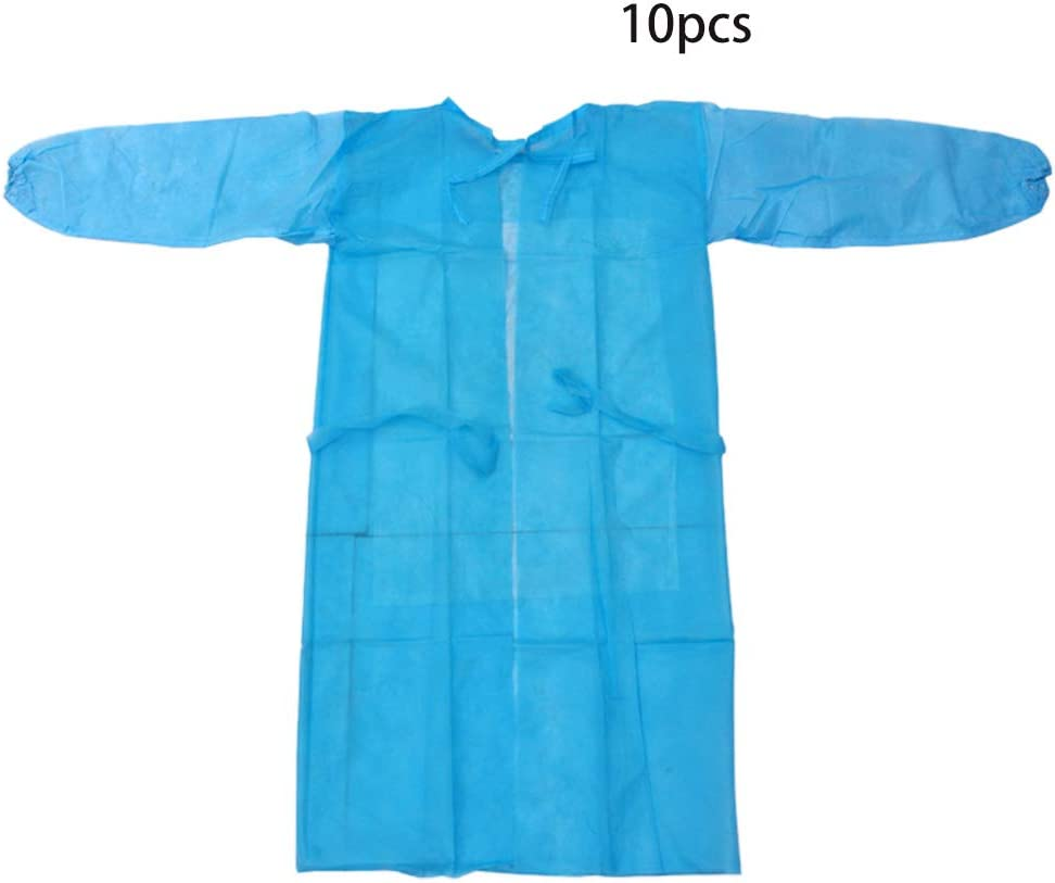 Manufacturing Painting 10 Packs Unisex Disposable Protective Isolation Gowns Clothing Protective Coverall Suit Coverall Protective Gown with Elastic Cuffs Disposable Workwear for Cleaning Service