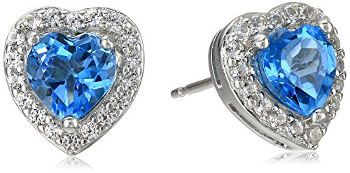 Sterling Silver Genuine Swiss Blue Topaz and Created White Sapphire Halo Heart Stud Earrings