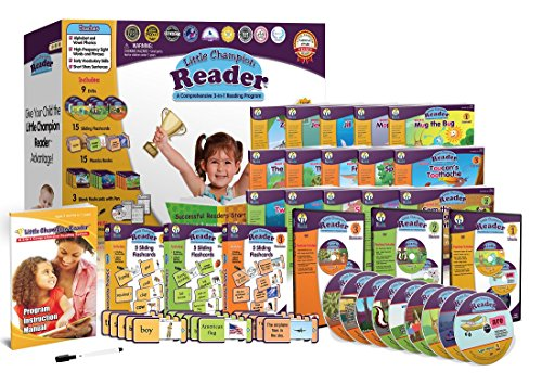 Early Reading Program for Baby, Toddler, Preschool, Kindergarten- Alphabet, Vowel Phonics & 200+ Sight Words - Little Champion Reader 9 DVD, Flash card, Book Kit -