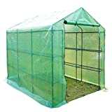 Outsunny Poly Tunnel Steeple Walk in Garden Greenhouse with Removable Cover Shelves - Green