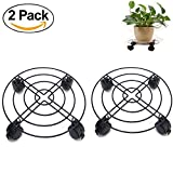#10: Jesauge Metal Plant Flower Pot Stand Trolley Caddy on Wheels Indoor Outdoor Home Garden tools (2-Pack)