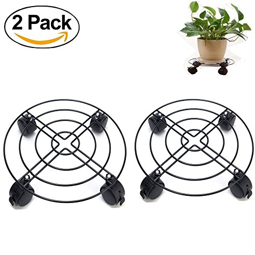 Outdoor Metal Plant Stands - Jesauge Metal Plant Flower Pot Stand Trolley Caddy on Wheels Indoor Outdoor Home Garden tools (2-Pack)