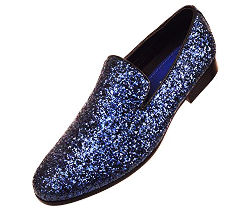 Amali Mens Metallic Sparkling Glitter Tuxedo Slip On Smoking Slipper Dress Shoe Runs Large - Size 1/2 a Size Down]()