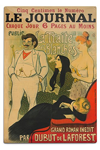 Aluminum Journal (Le Journal - La Traite des Blanches Vintage Poster (artist: Steinlen) France c. 1899 (12x18 Aluminum Wall Sign, Wall Decor Ready to Hang))