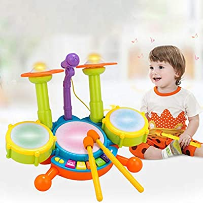 Novobey Kids Drum Set Flash Light Toy Multicolor Musical Instrument Toy Drum Set with Adjustable Microphone and Drumsticks Great Gifts for Kids: Toys & Games
