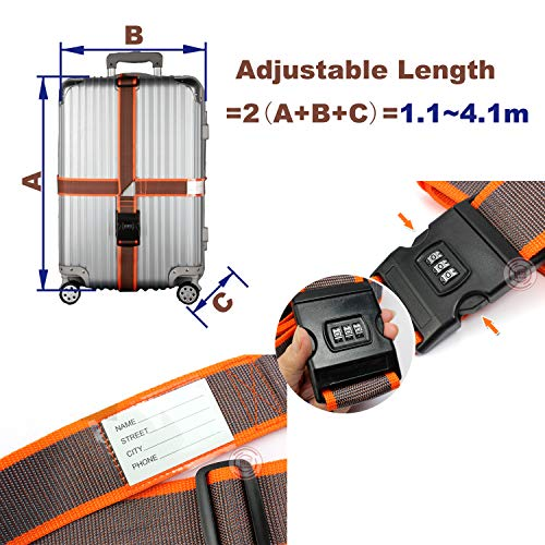XinPei 2 pcs 4.1m Adjustable Cross Luggage Straps with Combination Lock, 2 pcs Cartoon Luggage Taps, 2 pcs Luggage Locks with Code