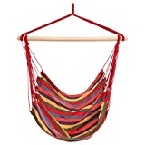 Homdox Hanging Rope Hammock Chair Porch Swing Seat for Indoor or Outdoor Spaces Max.265 Lbs with One Spreader Bar Red Blue
