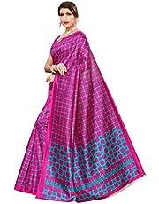 CRAFTSTRIBE Art Silk Checks Blue Indian festival wear Saree for Women