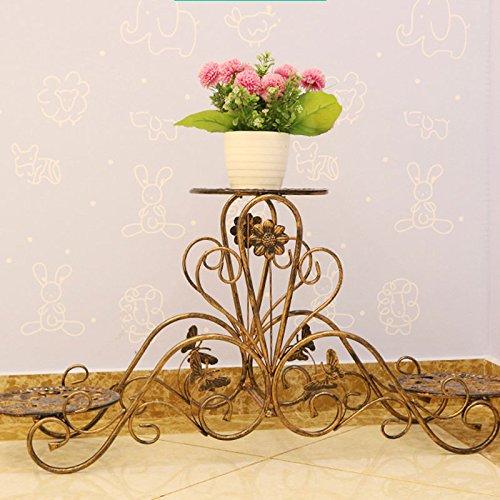 ヨーロッパの窓フレーム鍛鉄フラワースタンド多層バルコニー居間フラワーポットシェルフ屋内ファッション装飾的な花の棚 (色 : 銅色) B07DPQ8S9M 銅色 銅色