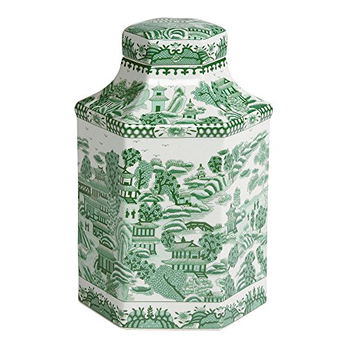 Ethan Allen Hexagon Porcelain Jar, (Green Porcelain Jar)