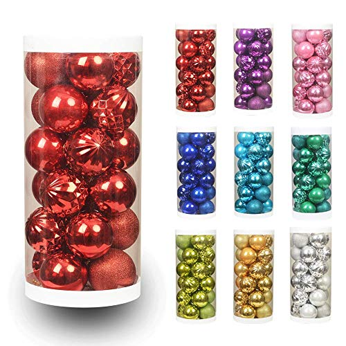 "ChristmasExp 24ct 60mm/2.36"" Christmas Ball Shatterproof Christmas Tree Balls Ornament Set Decorations for Holiday Xmas Party Decoration Tree Ornaments(2.36'', Red)"