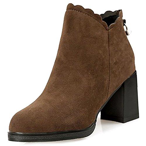 ZHZNVX HSXZ Damenschuhe PU Winter Fashion Stiefel für Stiefelette Stiefel Ferse Round Toe Booties/Stiefeletten für Stiefel Office\Karriere Kleid Khaki Schwarz, Schwarz, US 8/EU 39/UK6/CN 39 - b30e37