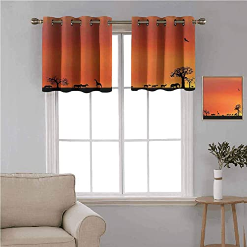 Wildlife Decor 2 pcs 52×18 Short Curtains Blackout Valance,Panorama of Safari Animals Gulls Reflections in Background at Sunset Thermal Insulated Light Reducing Drapes for Half Window,Burnt Orange Bl