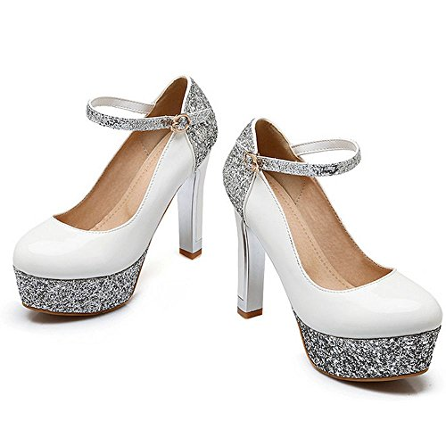 White Strap Block Heels Women Pumps Ankle Shoes Platform LongFengMa Party Sexy Glitter YSwP81w5qx