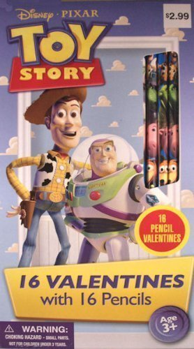 Amazon Com Toy Story 16 Valentines With 16 Toy Story Pencils Toys