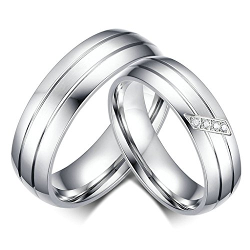 (Gnzoe Men Women Rings Set 6MM Stainless Steel Silver Wedding Rings Couple Matching Set)