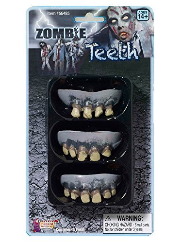 Forum Novelties 3 Pack Zombie Teeth Adult - Official Costumes for Halloween -