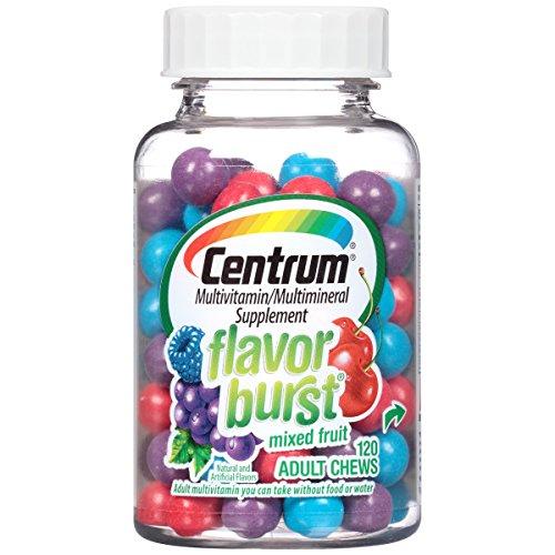 Centrum Adult Flavor Burst (120 Count, Mixed Fruit Flavor) Multivitamin/Multimineral Supplement Chews, Vitamin A, Vitamin C, Vitamin D