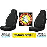 2 x Town & Country AIR BAG COMPATABLE Universal Car Front Seat Covers BLACK- PAIR