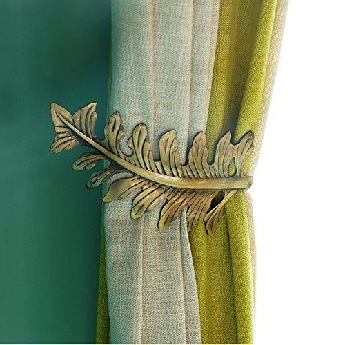 YYC Set of 2 American Style Leaf Curtain Wall Hook Drapery Window Treatment holdback (Bronze)