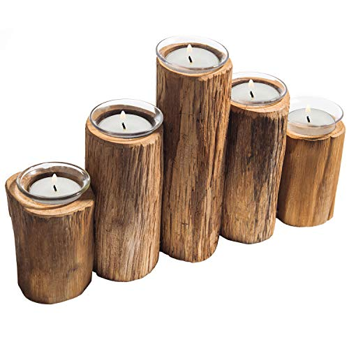 Fireplace Pillar Holder - MyGift Wooden Log-Pillar Design Tealight Candle Holder with 5 Clear Glass Votive