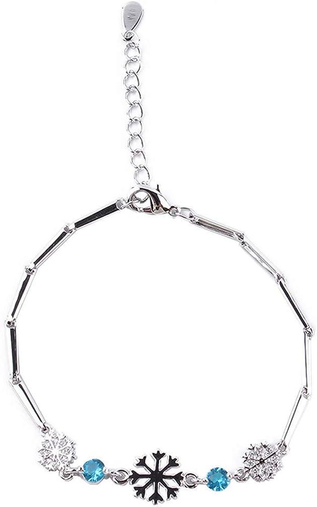 Fliyeong Winter Snowflake Women Bracelets Chain Link Bracelet Accessory Blue Creative and Useful