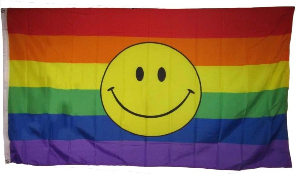 3x5 Rainbow Smiley Face Gay Pride LGBTQ Rough Tex Knitted Flag 3/'x5/' Banner