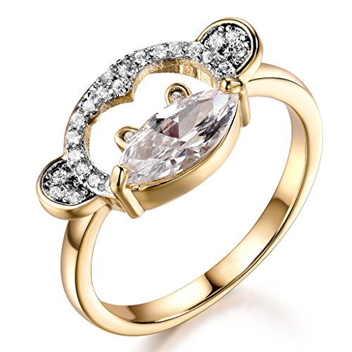 (GULICX Clear Marquise Shape Cubic Zirconia Cute Womens Girls Monkey Animal Ring with Yellow Gold-Tone)